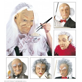 Old Character Mask With Hair 6 Styles - Fancy Dress