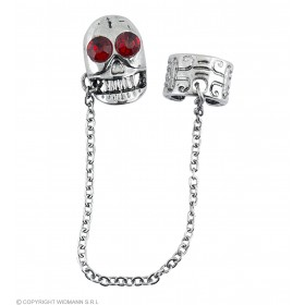 Skull W/Red Gem Eyes Earrings - Fancy Dress (Halloween)