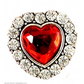 Heart Ring W/Red Gem & Strass - Fancy Dress