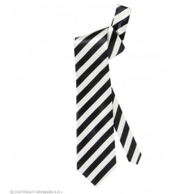 Satin White Neckties W/Black Stripes - Fancy Dress