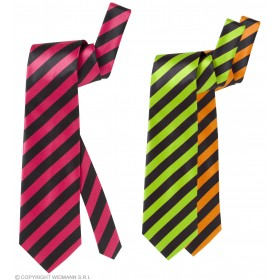 Satin Neon Stripe Neckties 3Cols - Fancy Dress