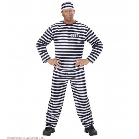 Xl Prisoner Costume Fancy Dress Costume Mens Size 46-48 (Cops/Robbers)