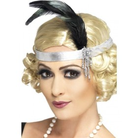 Silver Satin Charleston Headband - Fancy Dress Ladies (1920S)