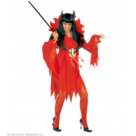 Xxl Devilin Dress, Belt & Stand, Up Coll Costume Ladies (Halloween)