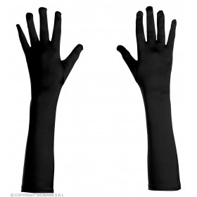 Black Long Gloves Spandex Satin - Fancy Dress
