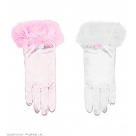 Glamour Girl Satin Gloves 2 Colours - Fancy Dress Girls