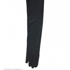 Black Spandex Satin Gloves 60Cm - Fancy Dress