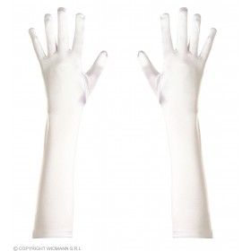 Spandex Satin Gloves 43Cm White - Fancy Dress