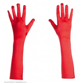 Gloves Satin 43Cm Red - Fancy Dress