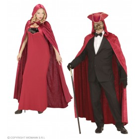 Red Hooded Velvet Cape 120Cm Fancy Dress Costume (Halloween)