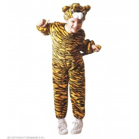 Plush Tiger - Jumpsuit, Headpiece Costume Kids Age 3-4 (Animals)