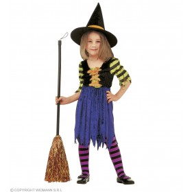 Little Witch With Velvet Dress And Hat Fancy Dress (Halloween)