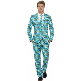 Mens Blue Hawaiian Aloha Stand Out Suit Fancy Dress Costume