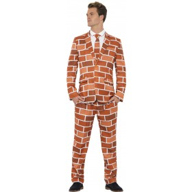 Men'S Brick Pattern Off The Wall Stand Out Suit Fancy Dress Costume