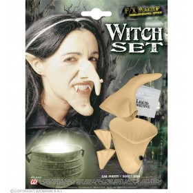 Witch Set Professional Ears Nose Chin - Fancy Dress (Halloween)