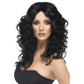 Black Glamour Wig - Fancy Dress Ladies - Black