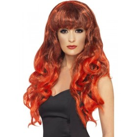 Siren Wig - Fancy Dress Ladies - Black/Red