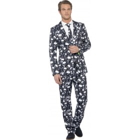 Men'S Skeleton Skull Stand Out Suit Halloween Fancy Dress Costume