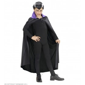 Black Cape W/Purple Collar Child 110Cm - Fancy Dress (Halloween)