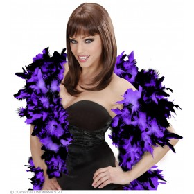Feather Boa Blk/Purple Deluxe 180Cm - Fancy Dress