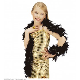 Shimmer Feather Boa Black - Fancy Dress