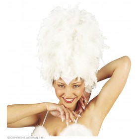 Sequinned Feather Headdress White - Fancy Dress