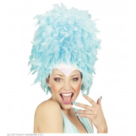 Sequinned Feather Headdress Turquoise - Fancy Dress