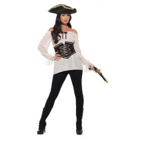 Deluxe Pirate Shirt Ladies Fancy Dress