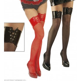 Vinyl Top Fishnet Thigh Highs - Fancy Dress