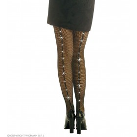 Rhinestone Fishnet Pantyhose Black - Fancy Dress