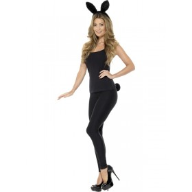 Adult Rabbit Fancy Dress Accessory Kit - Black
