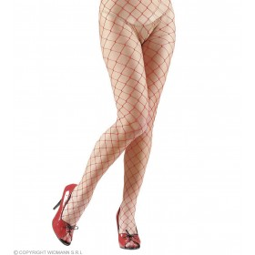 Pantyhose Wide Fishnet - Red Lycra - Fancy Dress