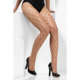 Diamond Net Fancy Dress Tights - Burgundy