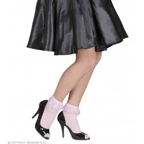 Socks W/Ruffle Lace Trim - 70 D - Pink - Fancy Dress
