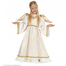 Angel With 98-104Cm With Dress, Wings, Halo Fancy Dress
