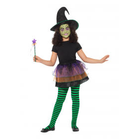 Pretty Witch Kit Black and Purple Halloween Fancy Dress