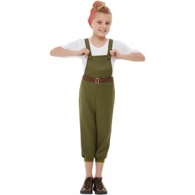 WW2 Little Land Girl Fancy Dress Costume 1940s War Time