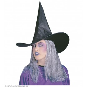 Witch Hat W/Grey Hair - Fancy Dress (Halloween)