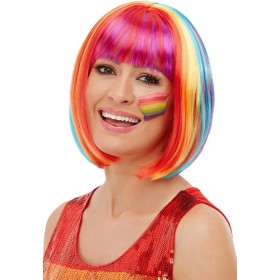 Rainbow Bob Wig Novelty Pride Fancy Dress