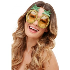 Tropical Pineapple Glitter Glasses Hawaiian Fancy Dress