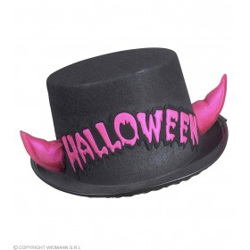 Felt Hall.Top Hat+Pink Refl.Horns - Fancy Dress