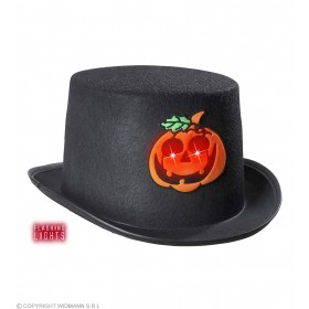 Felt Hall. Top Hat With Flashing Pumpkin - Fancy Dress (Halloween)