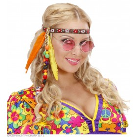 Hippie Headbands With Beads & Feathers - Fancy Dress (1960S)