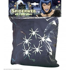Black Spider Web 100G W/5 Gid Spiders - Fancy Dress (Halloween)