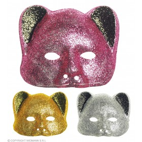 Glitter Cat Masks Plastic Gold/Silver/Pink, Fancy Dress