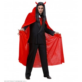 Mens Red Velvet Cape 145Cm Halloween Outfit - One Size (Red)