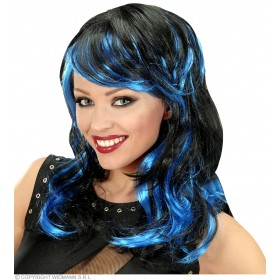 Black - Blue Long Wavy Wigs In Polybag - Fancy Dress