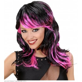 Black - Pink Long Wavy Wigs In Polybag - Fancy Dress