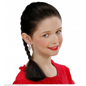 Hair Extension Plait Child - Black - Fancy Dress Girls