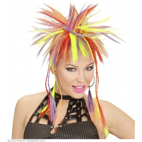 Neon Multicolour Plaits W/Comb Fl Ret - Fancy Dress